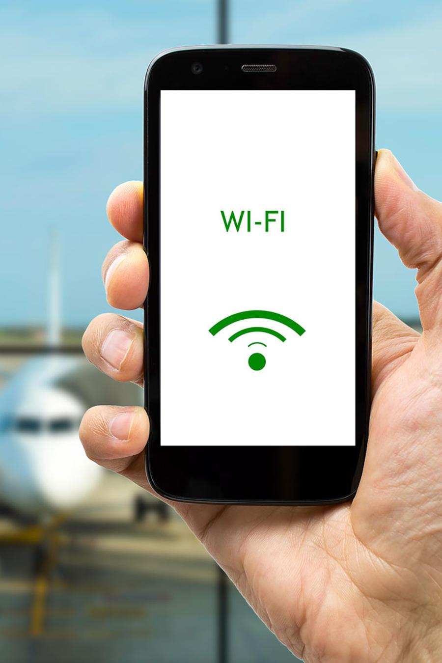 Señal de WiFi en aeropuerto
