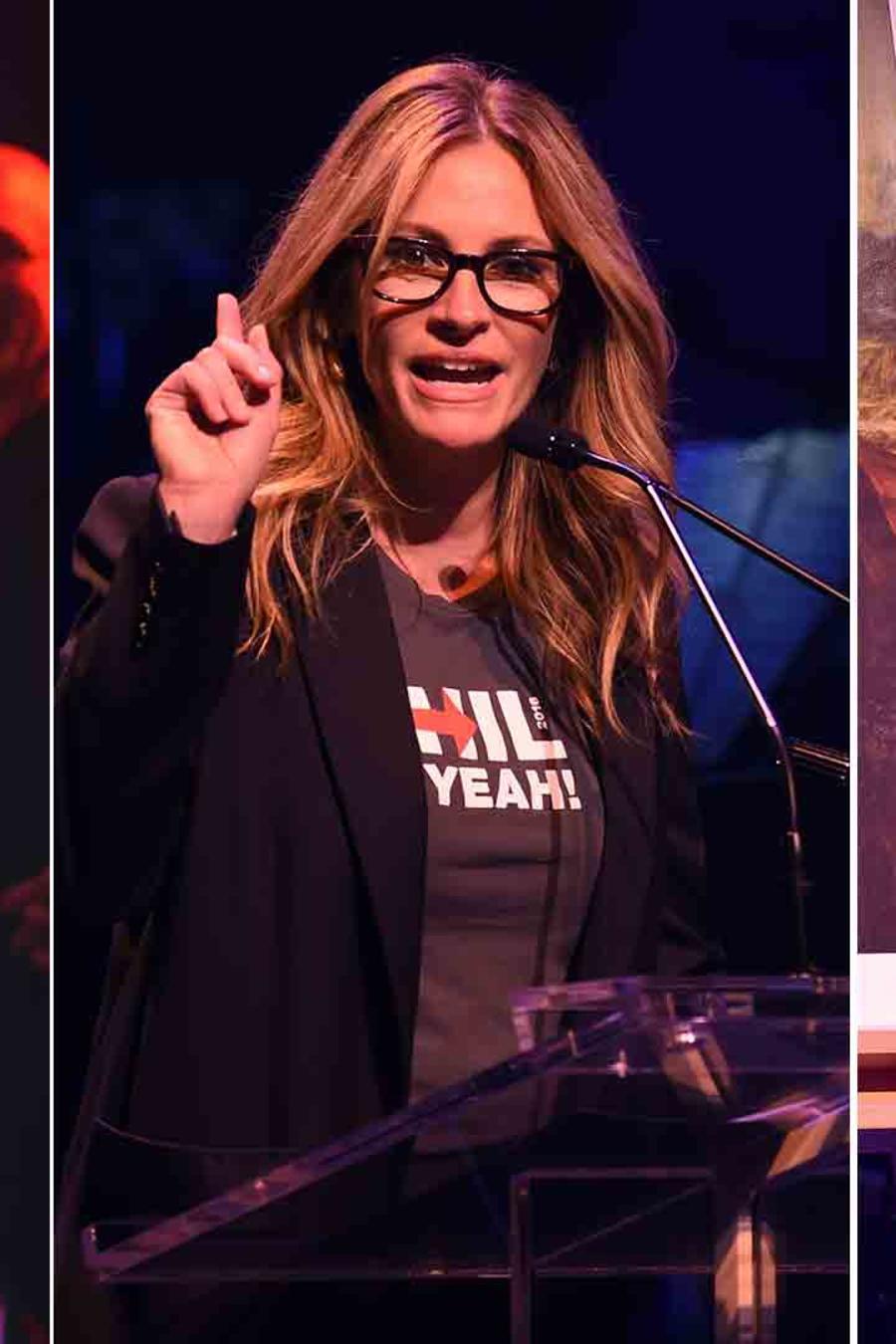 Julia Roberts, Lin-Manuel Miranda, Anne Hathaway en el concierto The Hillary Victory Fund Stronger Together