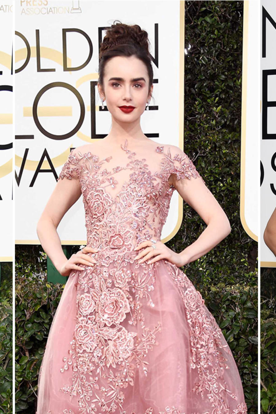 Famosas con vestido rosa en los Golden Globes 2017