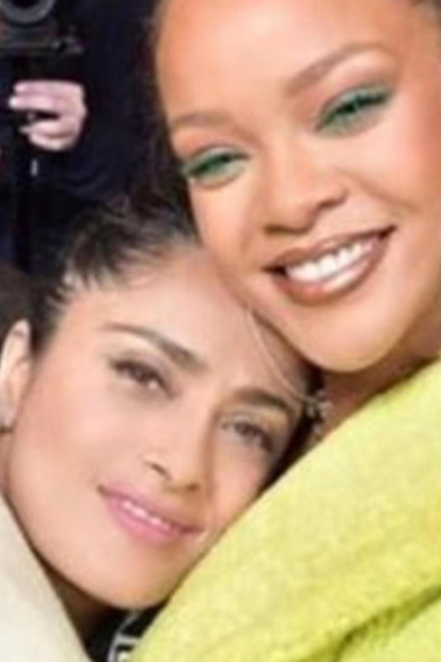 Salma Hayek y Rihanna en Paris Fashion Week