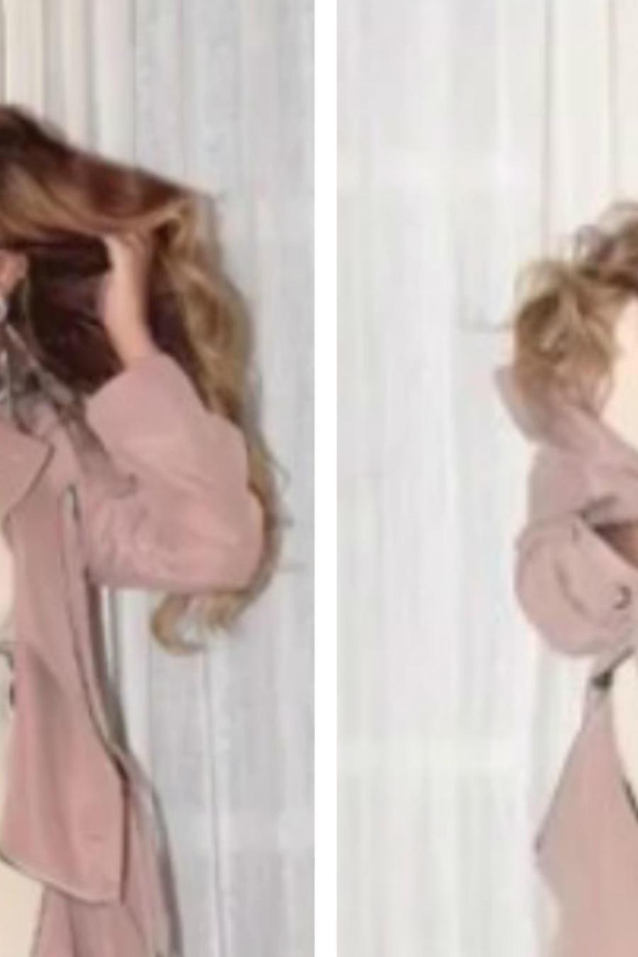 Beyoncé luciendo un vestido rosa