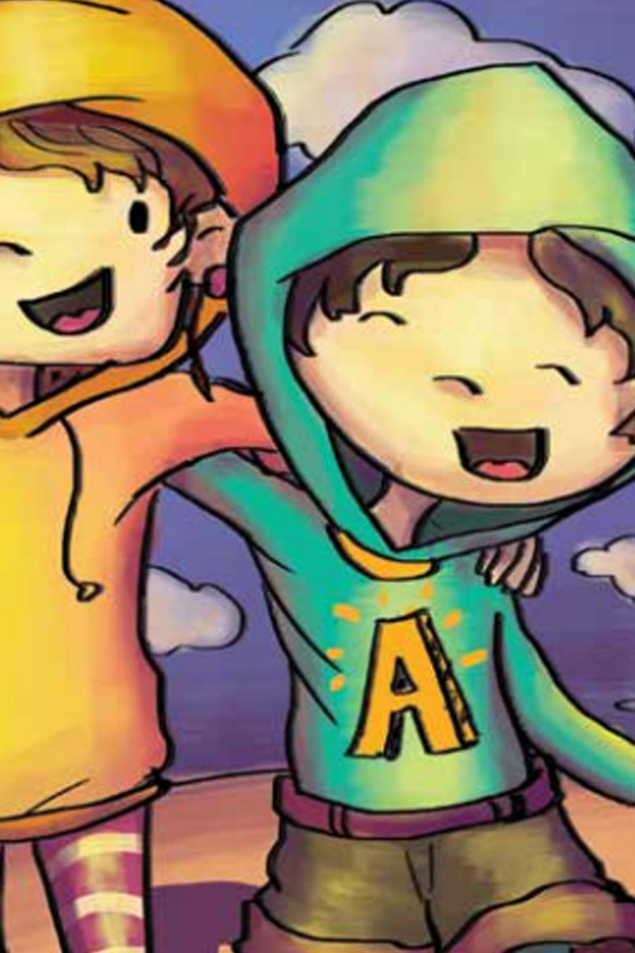 Ilustración de dos niños abrazados