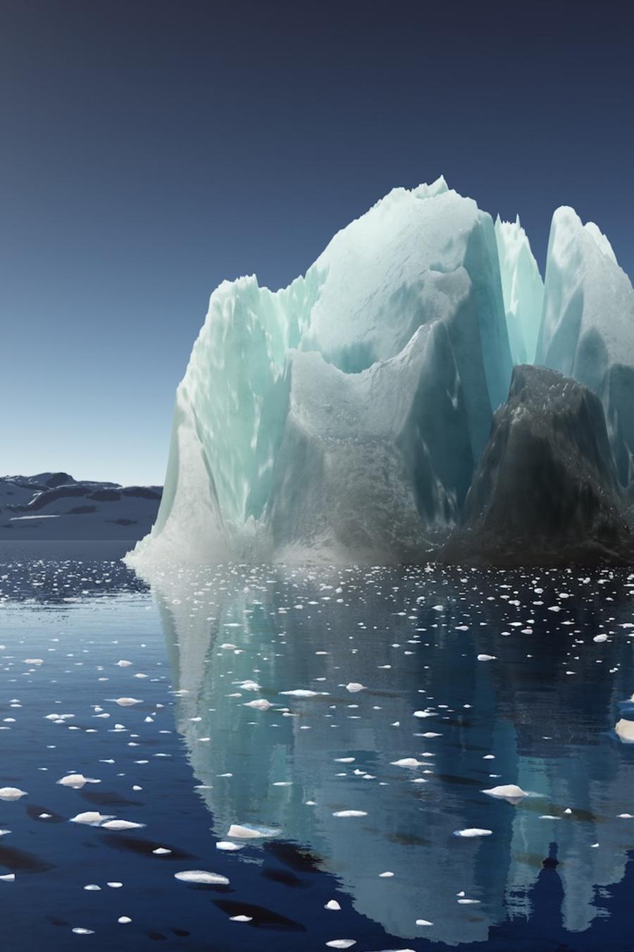 Hielo y glaciar en la Antártida