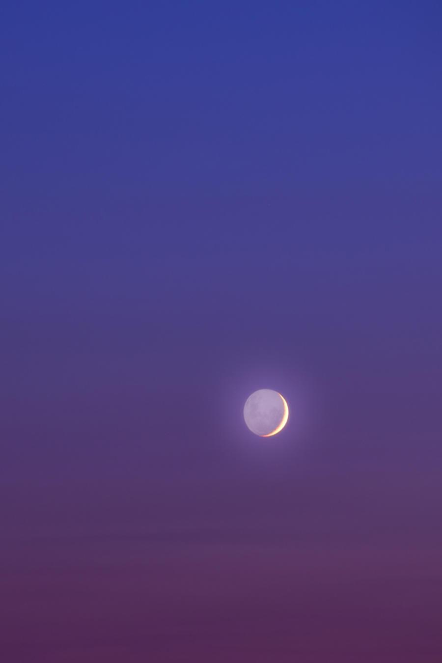 Venus y la Luna en el cielo claro