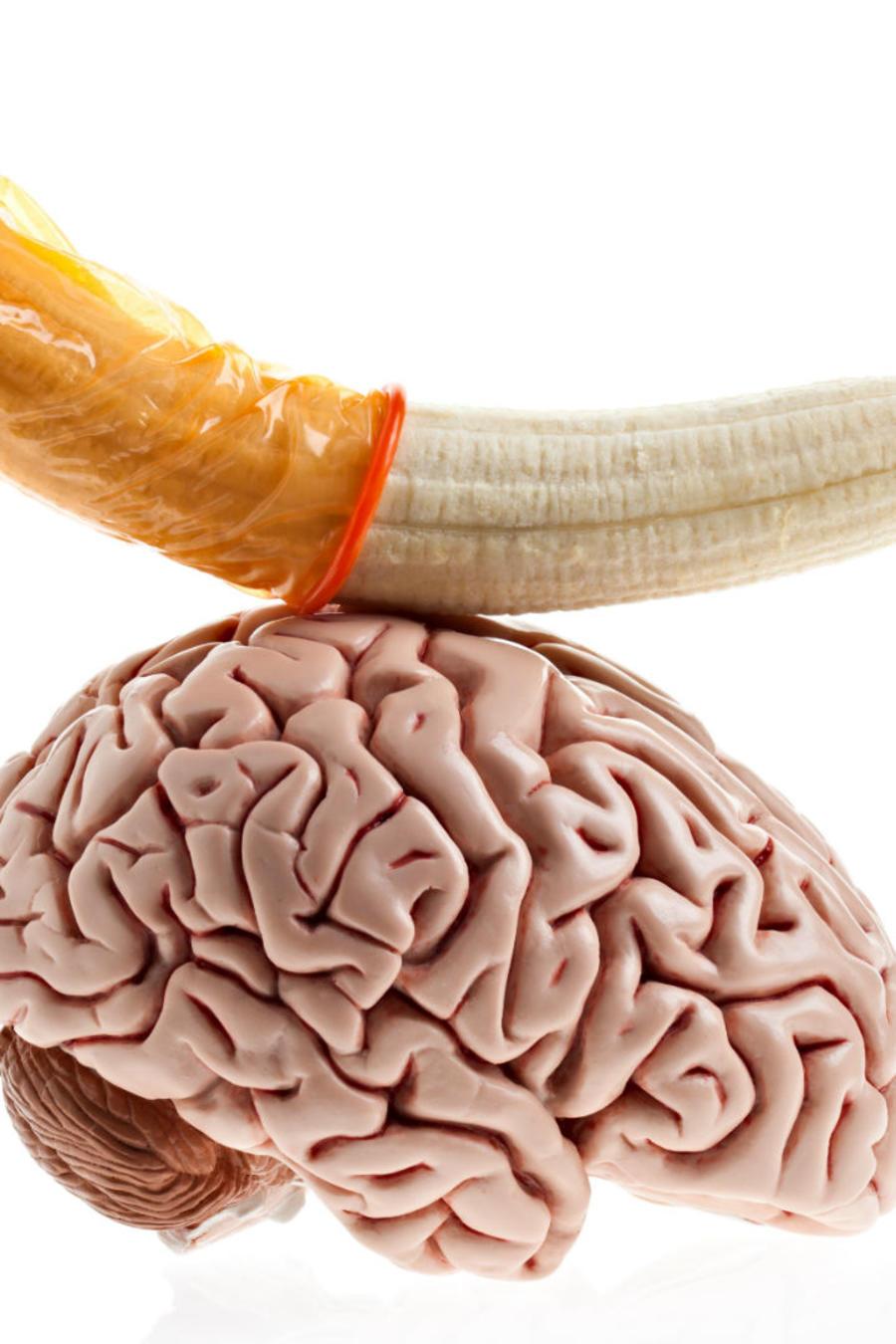 Cerebro con un plátano encima