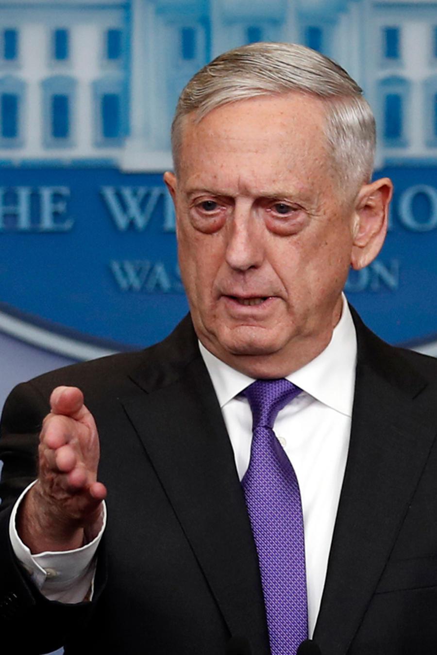 El secretario de Defensa, James Mattis, en conferencia de prensa en la Casa Blanca el 7 de febrero de 2018