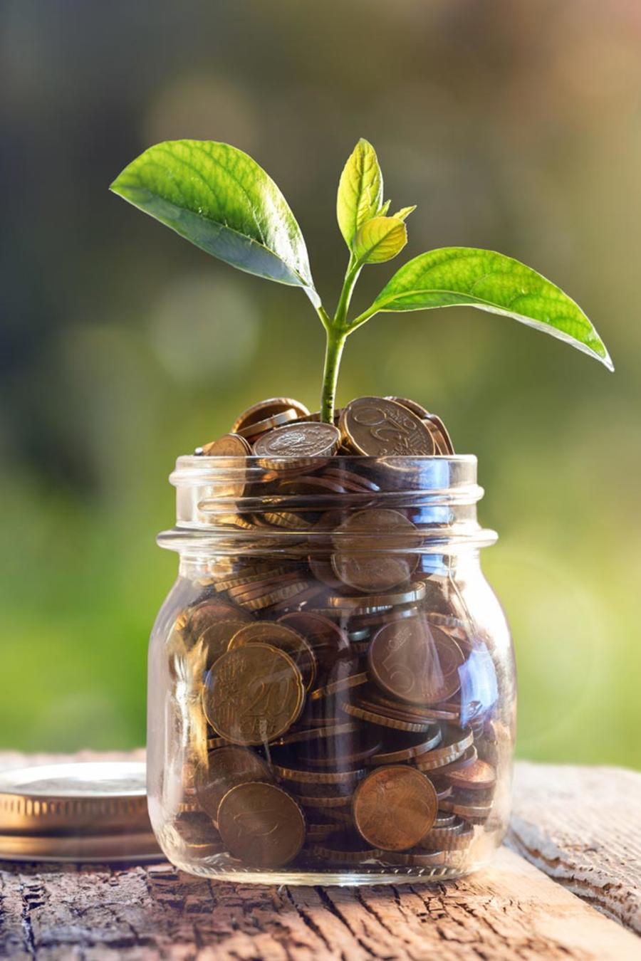 Monedas en un frasco