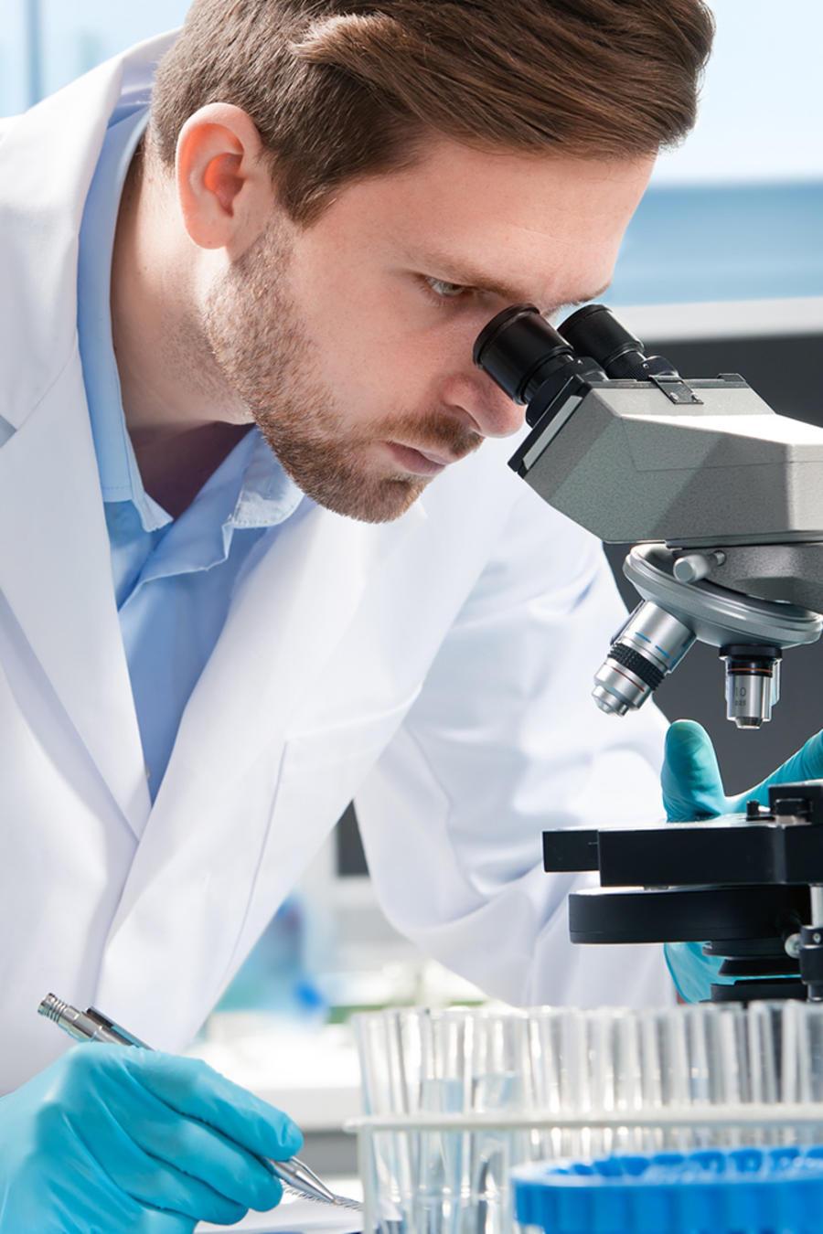 Médico mira microscopio