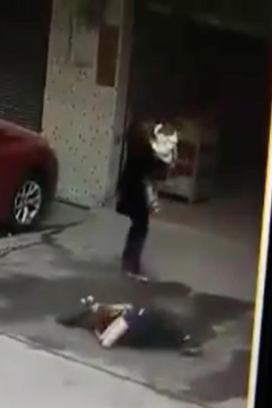 Perro cae sobre mujer