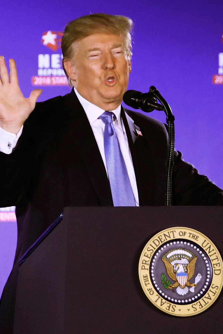 El presidente Donald Trump en Las Vegas en un discurso de apoyo a candidato republicano