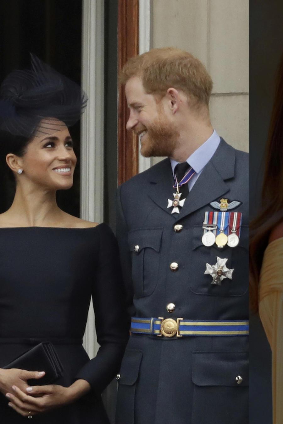 A la izquierda, la reina Isabel, el príncipe William y Meghan Markle, el martes. A la derecha, Donald Trump y su esposa, Melania, este jueves.