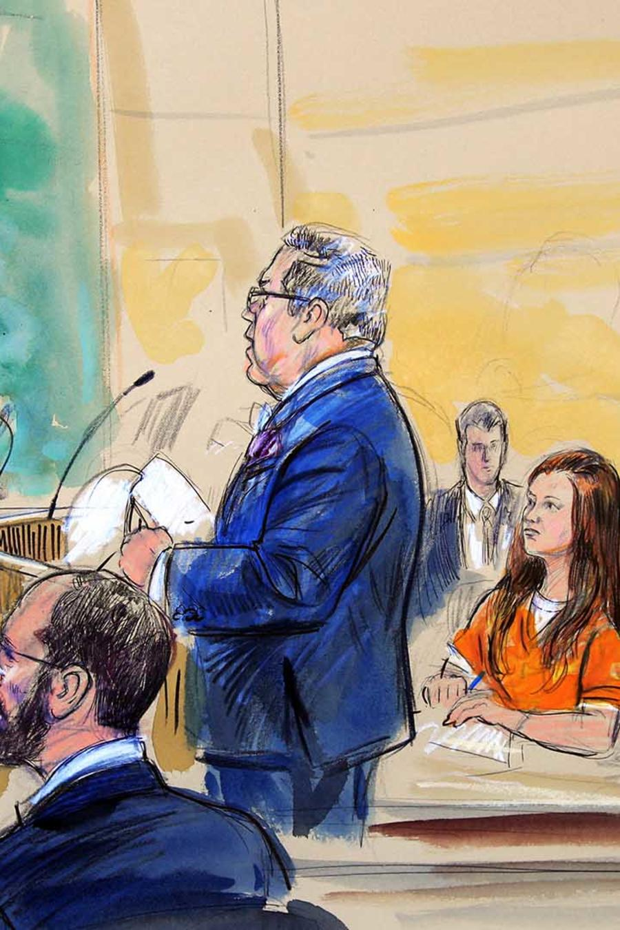 Sketch de Maria Butina, la joven acusada de ser espía rusa, en corte federal en Washington D.C. el miércoles 18 de julio de 2018