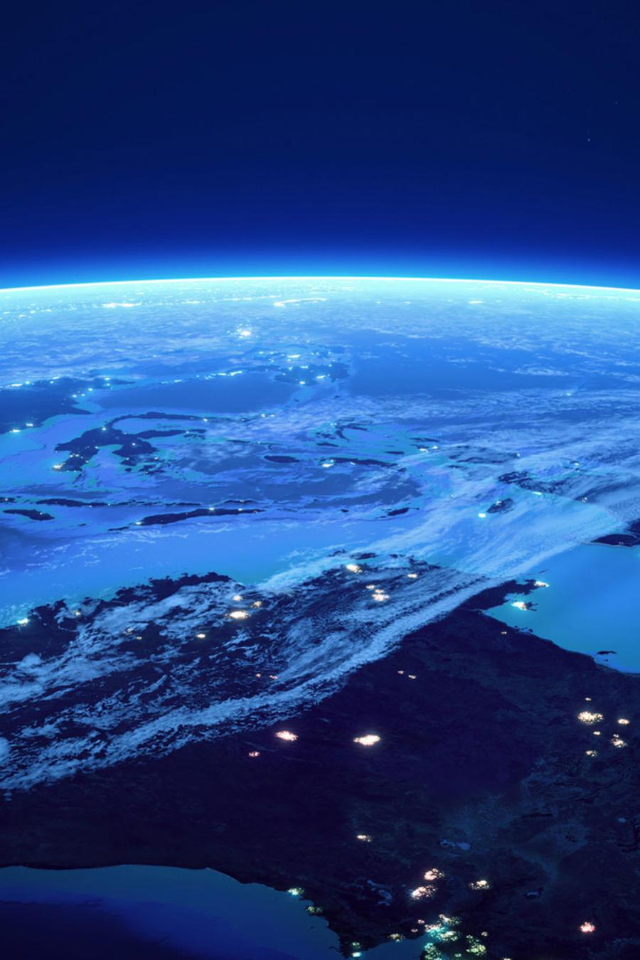 Planeta de noche, visto desde el espacio