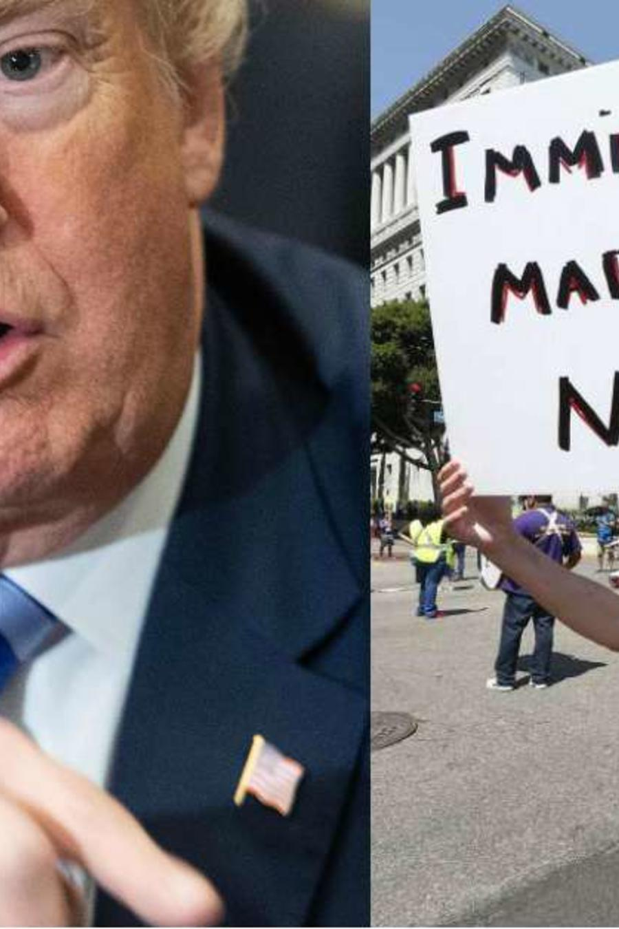 Compuesto de fotos del presidente Trump y manifestantes pro inmigrantes