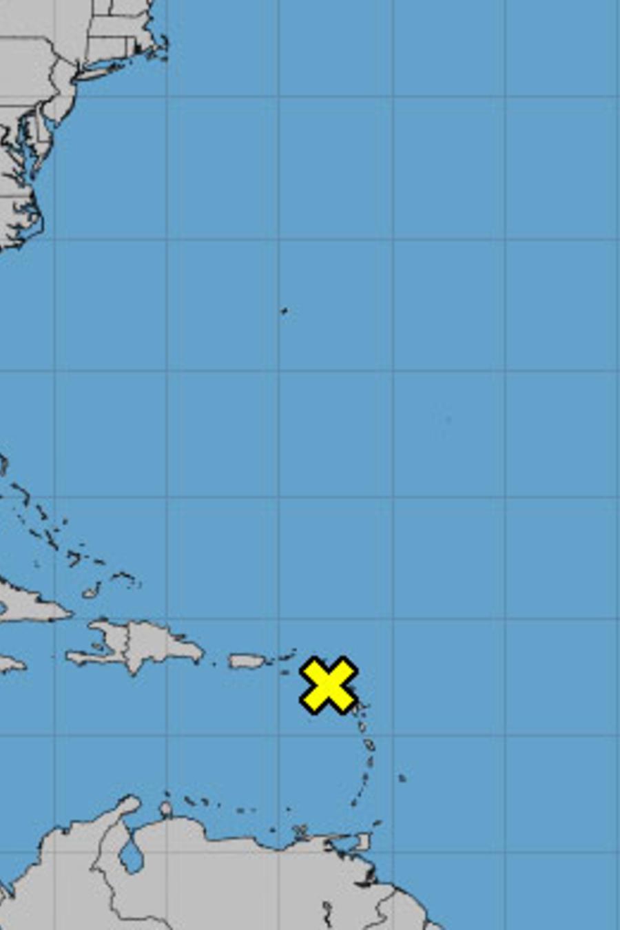 Gráfica del sistema tropical en el Caribe el 13 de noviembre de 2018