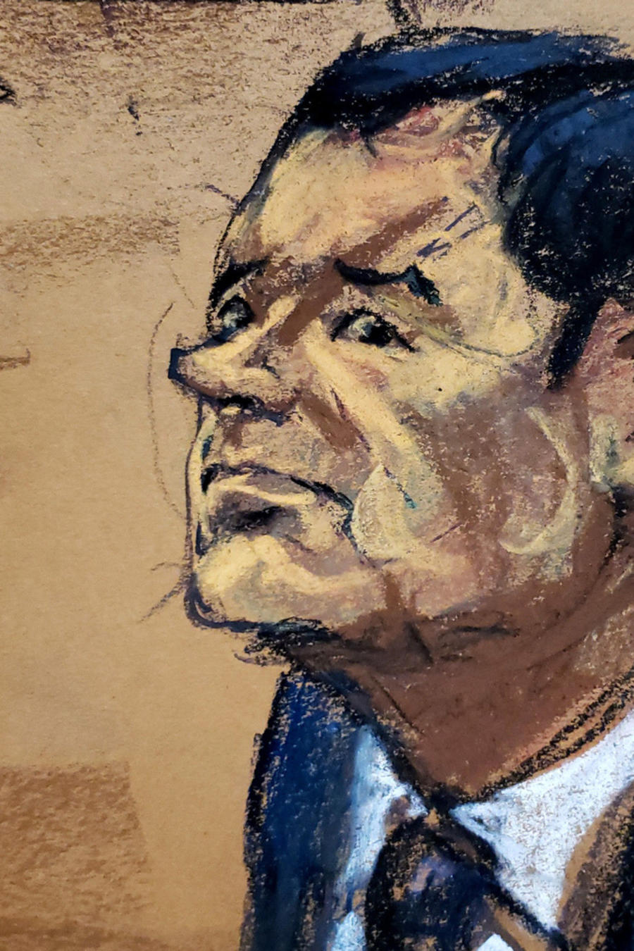 Un skecht de Joaquín El Chapo Guzmán durante el juicio que se sigue en NYC en su contra