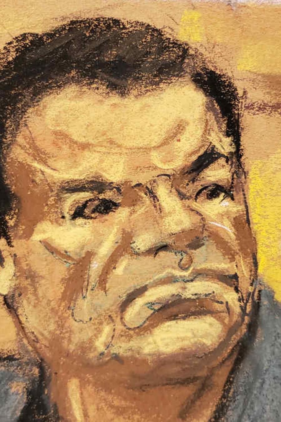 Un sckecht de El Chapo en el juicio en su contra.