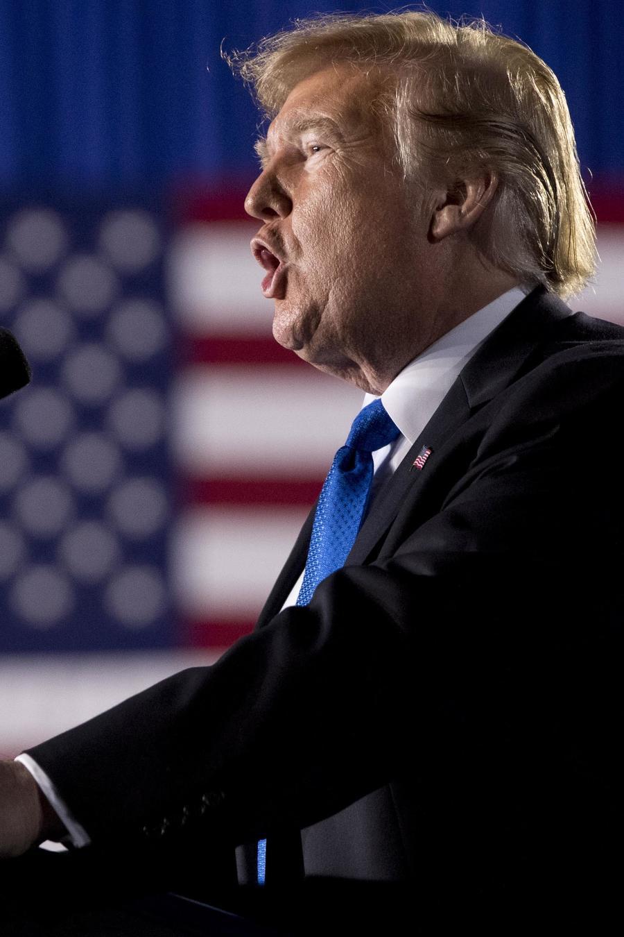 El presidente Trump durante un discurso sobre Venezuela en Miami, Florida el 18 de febrero de 2019