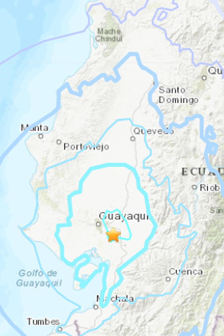 Mapa de localización de los sismos en Ecuador