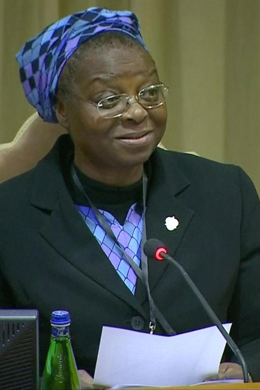 La monja nigeriana Veronica Openibo hoy en la conferencia de obispos sobre abusos sexuales