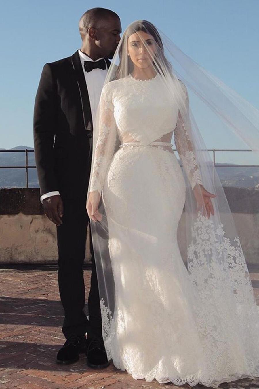 Kim Kardashian en el día de su boda celebrada en mayo de 2014 en Florencia, Italia