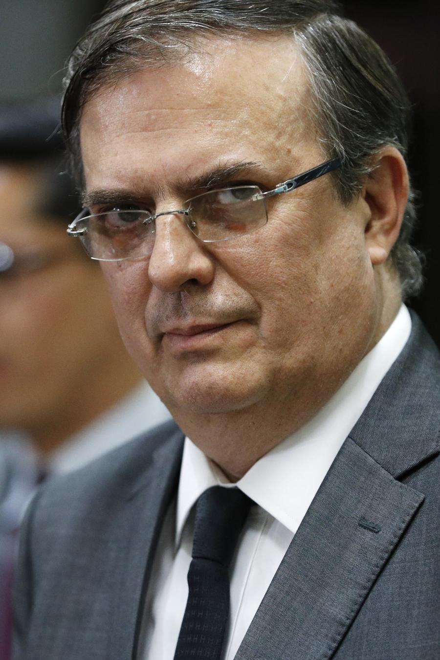 Marcelo Ebrard, secretario de Relaciones Exteriores de México, durante una conferencia de prensa en El Paso, Texas