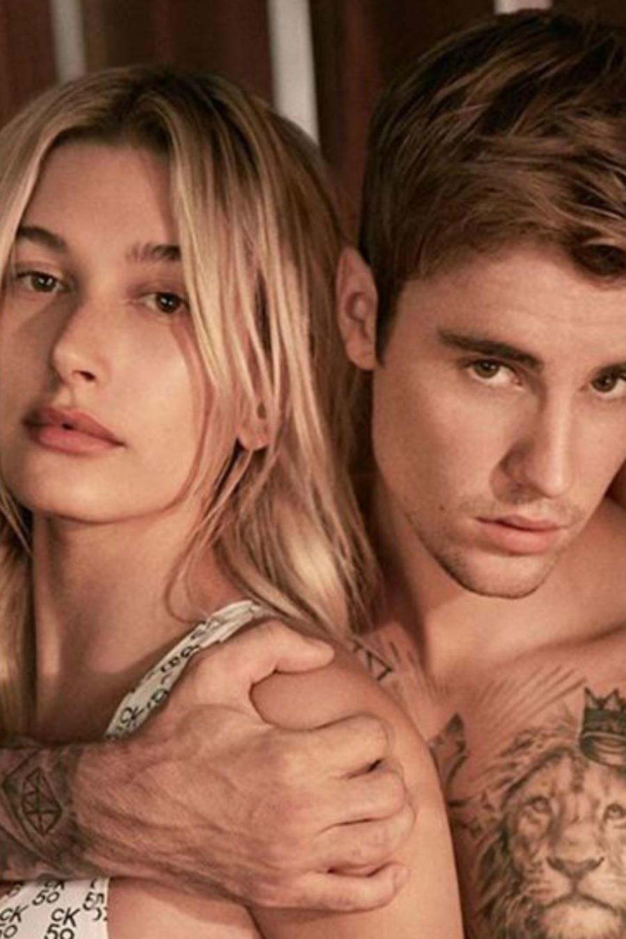 Hailey Baldwin y Justin Bieber en campaña de Calvin Klein