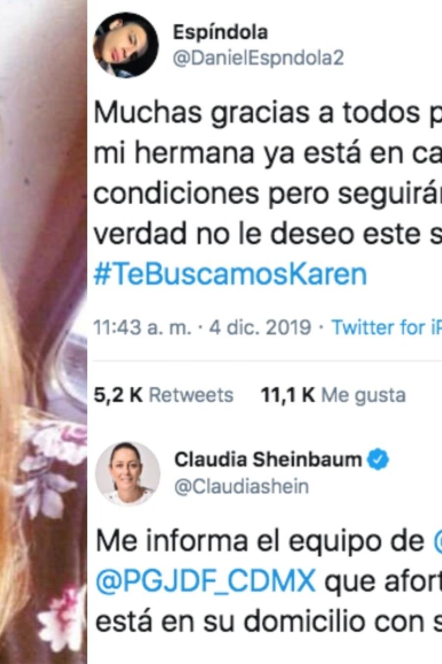 El hermano de Karen Espíndola informó que la joven ya se encontraba con su familia.