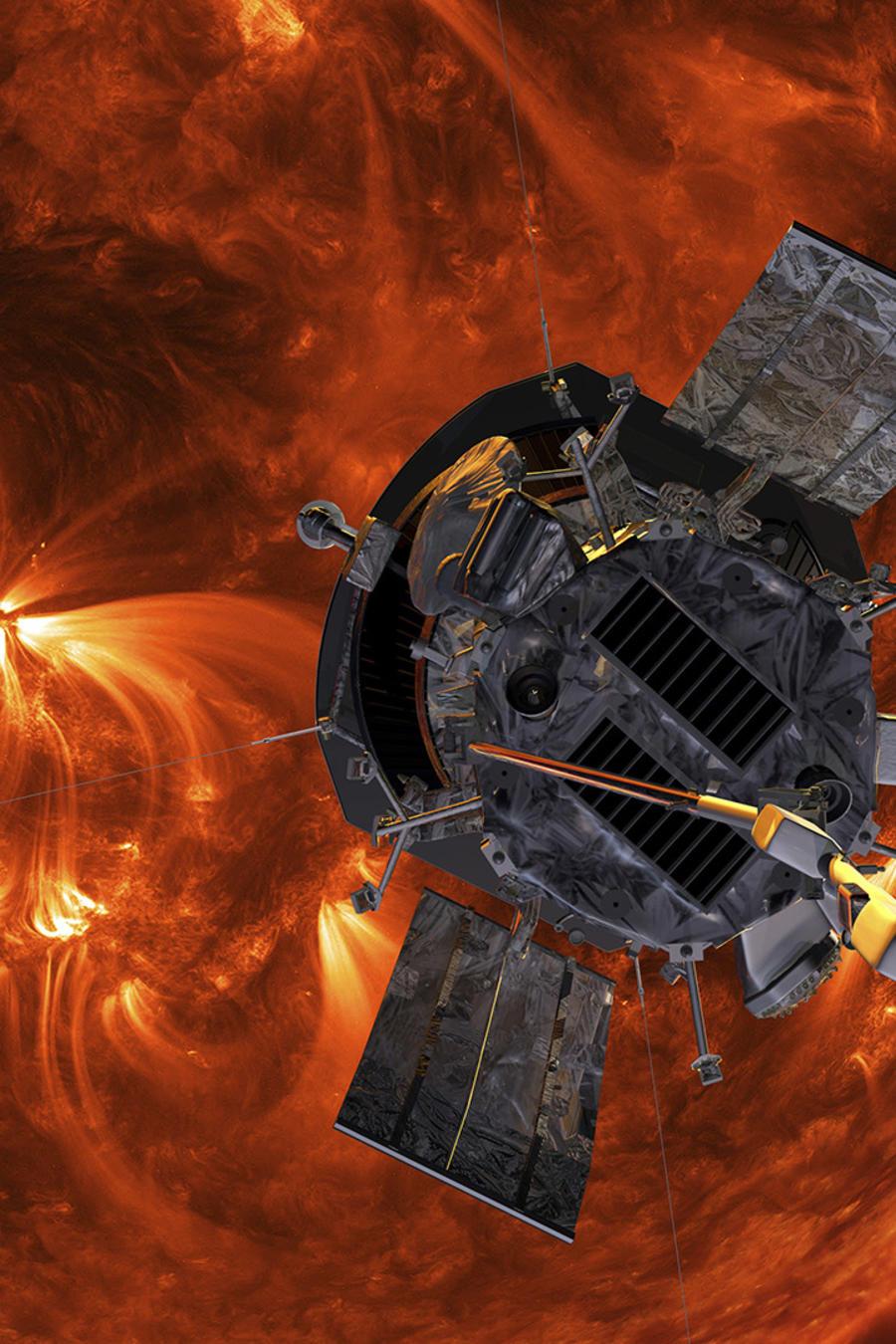 Imagen de la NASA que recrea la aproximación de la sonda Parker al Sol.