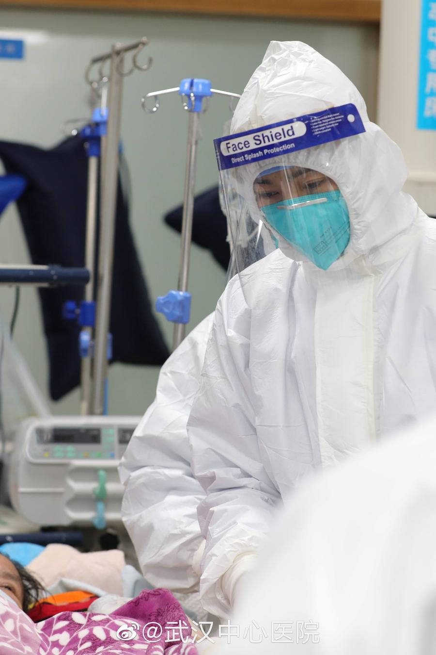 Pictures uploaded to social media on January 25, 2020 by the Central Hospital of Wuhan show medical staff attending to a patient, in Wuhan, China