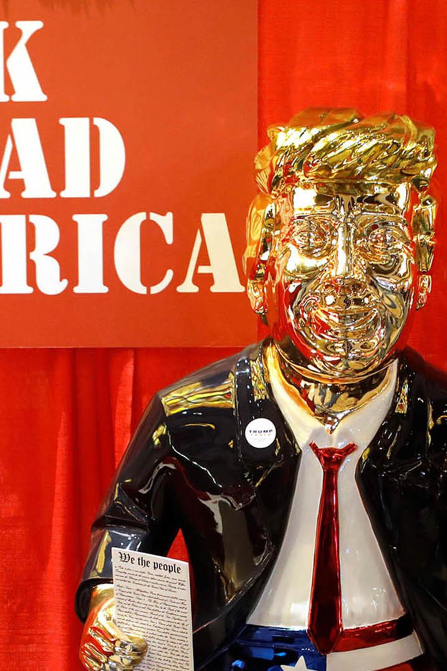 La estatua del expresidente, Donald Trump, en la Conferencia de Acción Política Conservadora (CPAC) en Orlando, Florida.