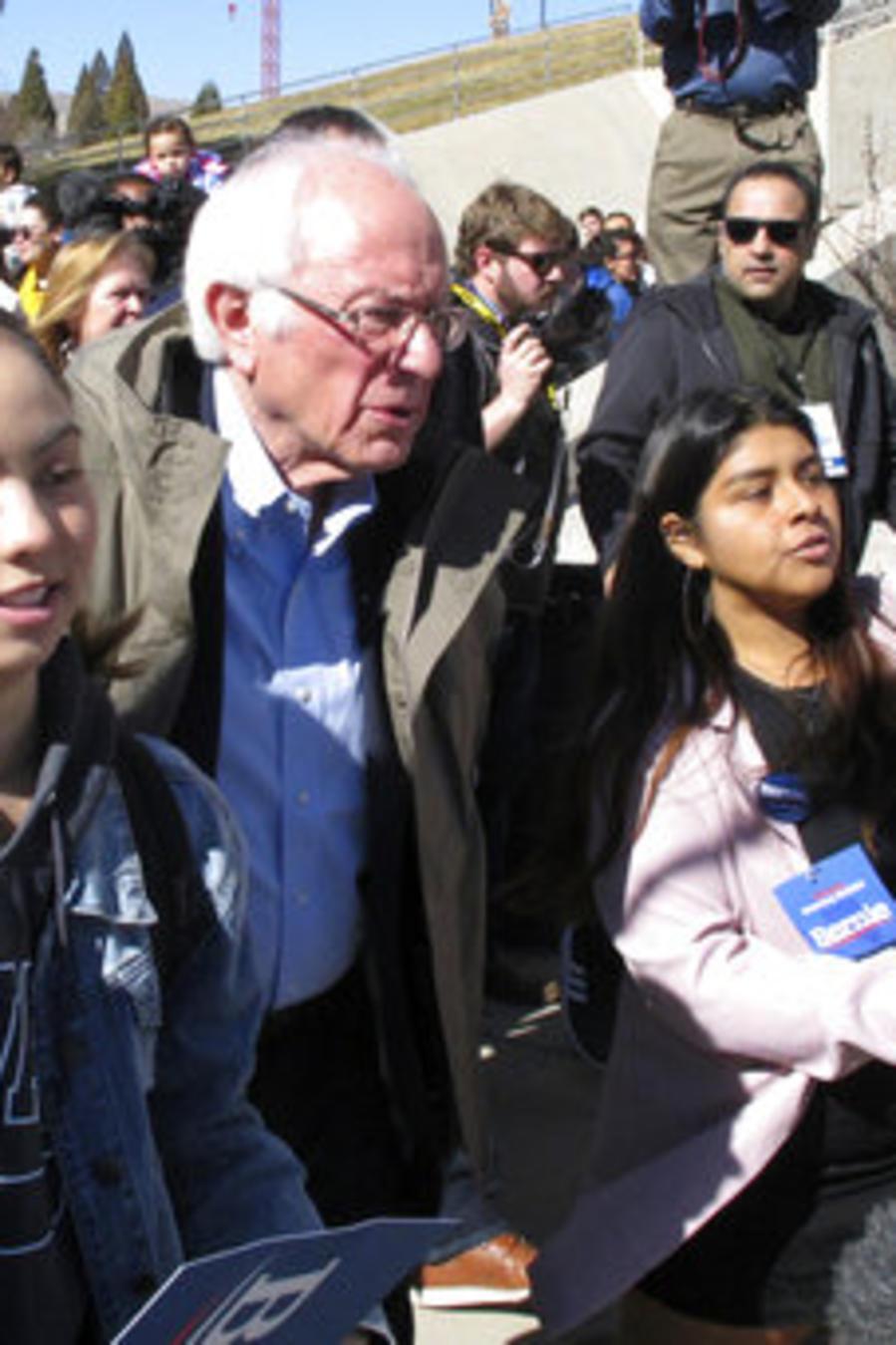 El senador demócrata por Vermont Bernie Sanders, en un evento de campaña antes del caucus de Nevada de este sábado.