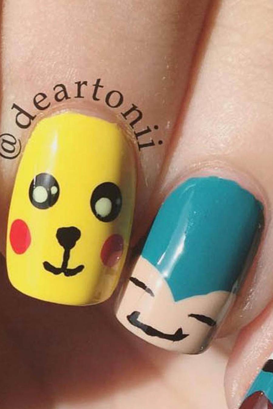 Uñas con diseño de Pokemon