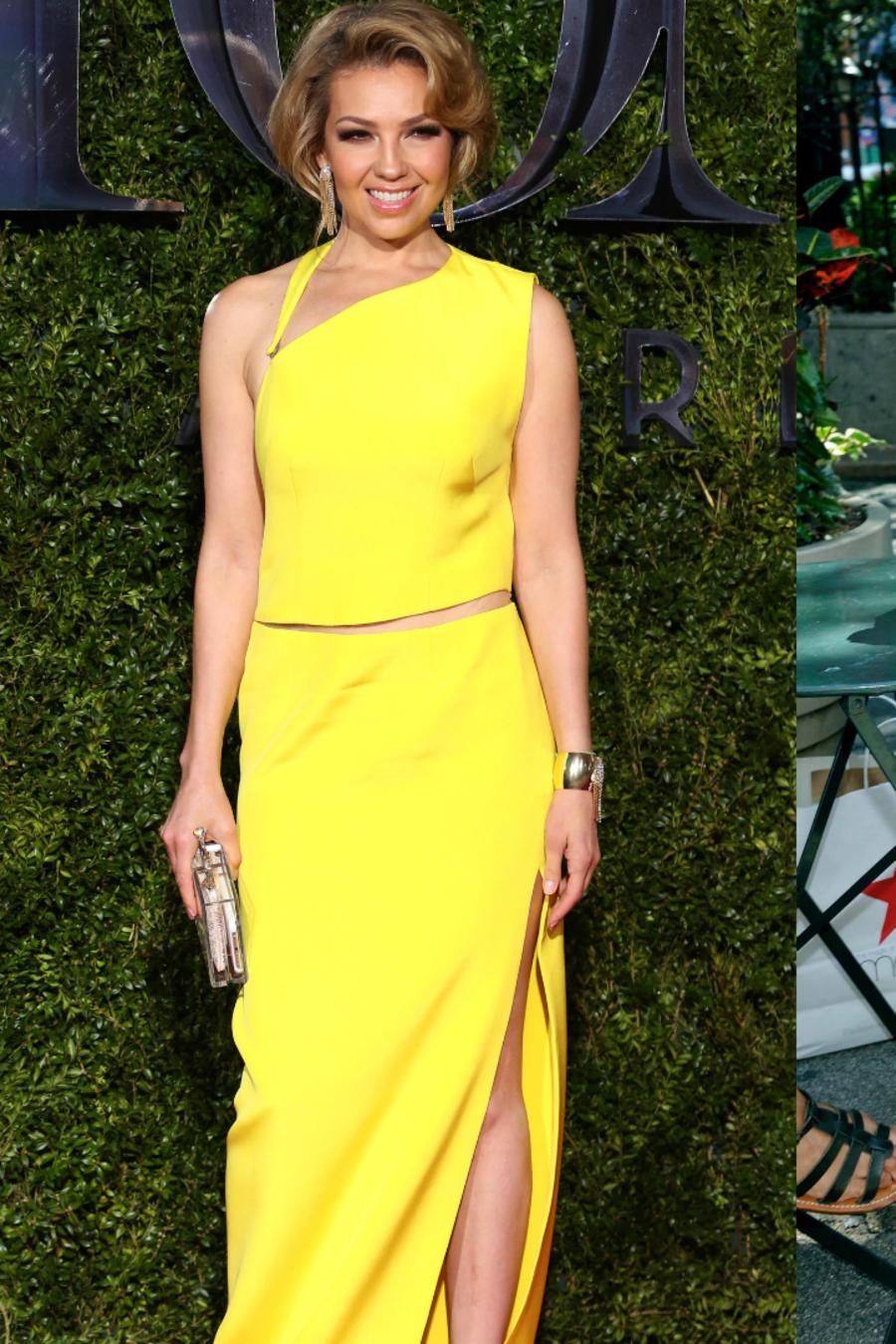 Collage de Thalía en los premios Tony, posando en Starbucks y en bikini a través de Instagram.
