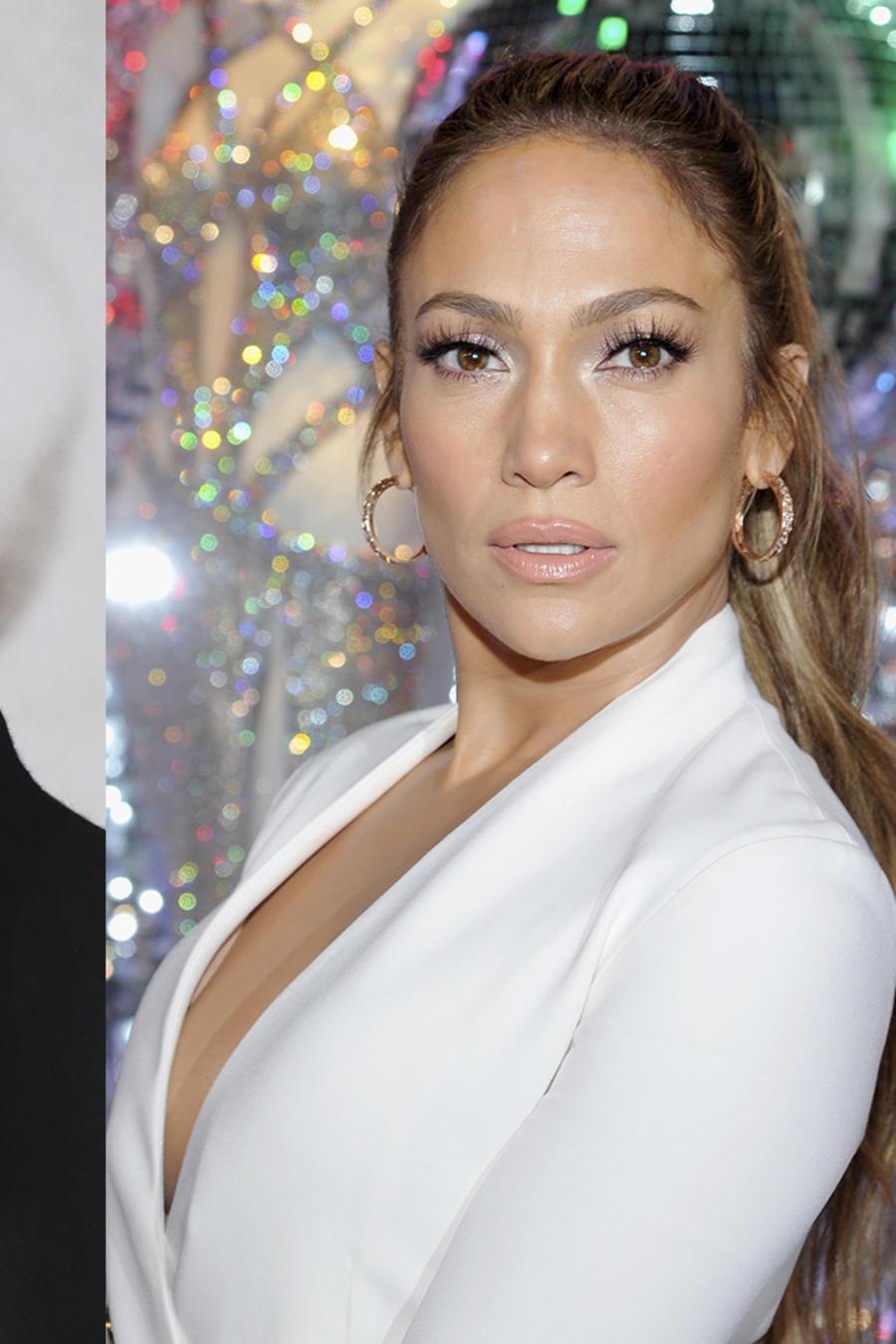 Collage de fotos de Salma Hayek, Brad Pitt y Jennifer Lopez.