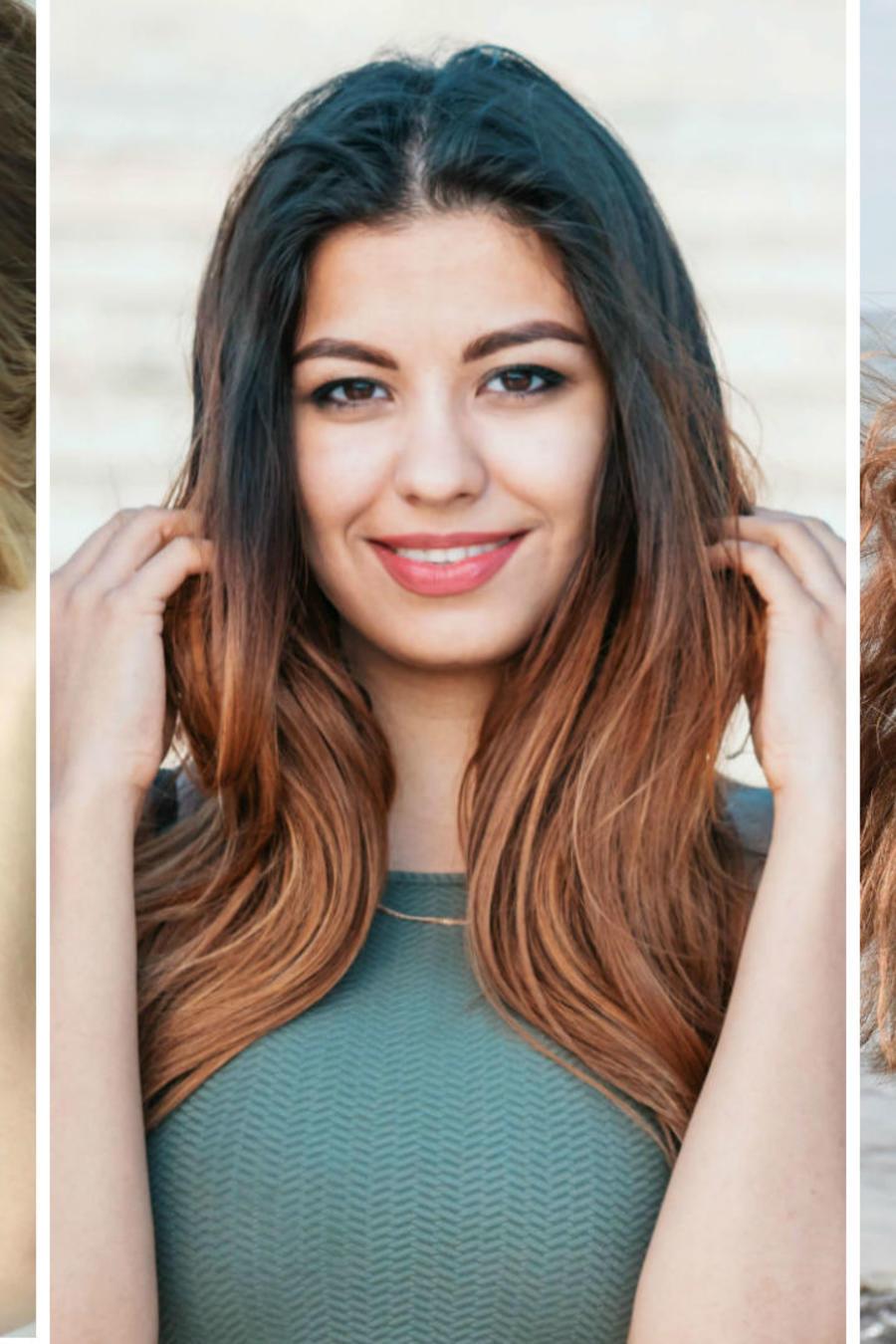 Mujeres tocándose el cabello