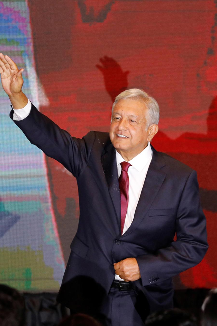 Andrés Manuel López Obrador ofrece su discurso de victoria el 2 de julio de 2018