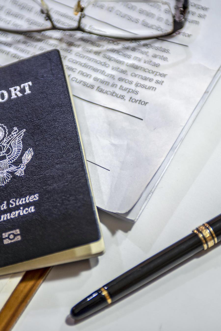 Passport on the desk of an American businessman