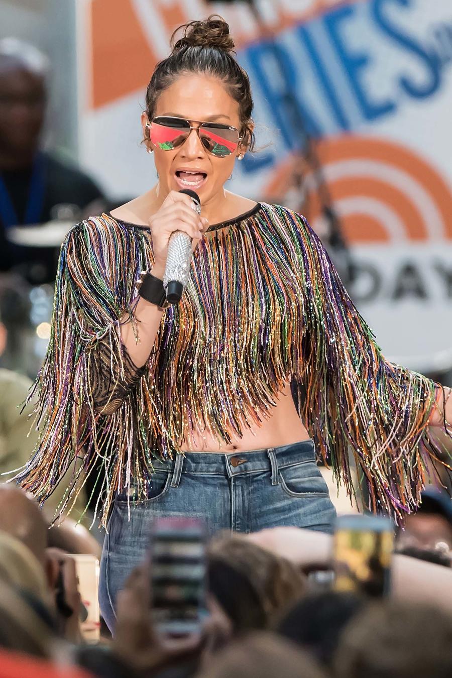 Jennifer Lopez en el ensayo para el Today Show