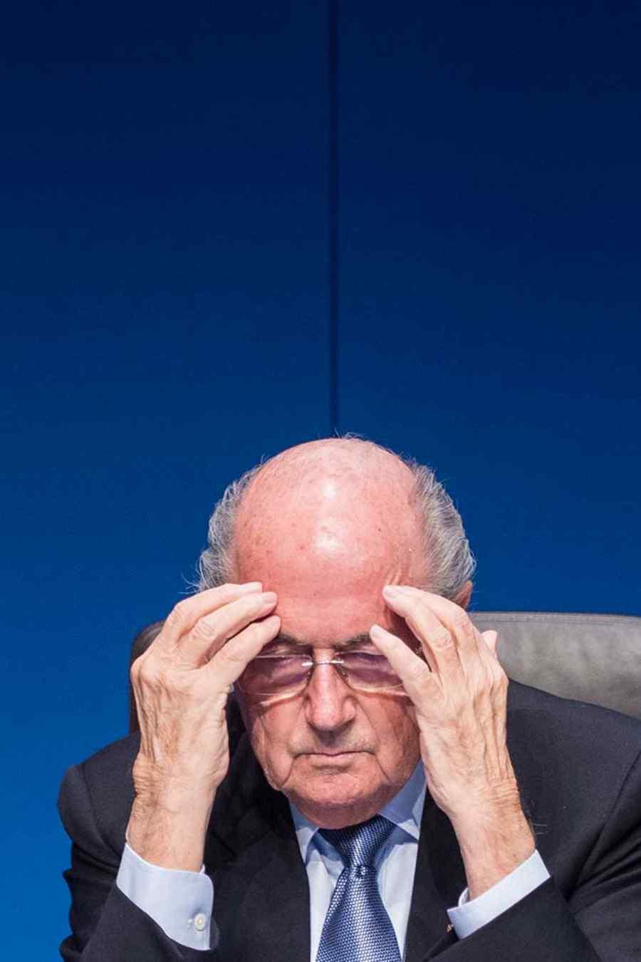 Joseph Blatter presidente de FIFA en conferencia de prensa en Suiza en Marzo del 2015