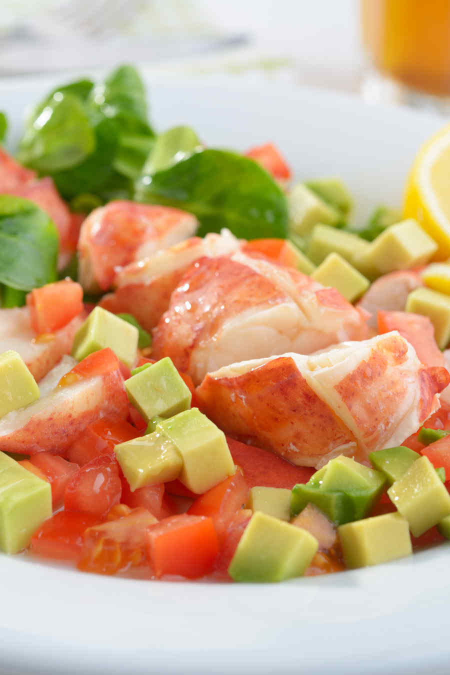 Lobster salad with avocado, tomato, lettuce and lemon