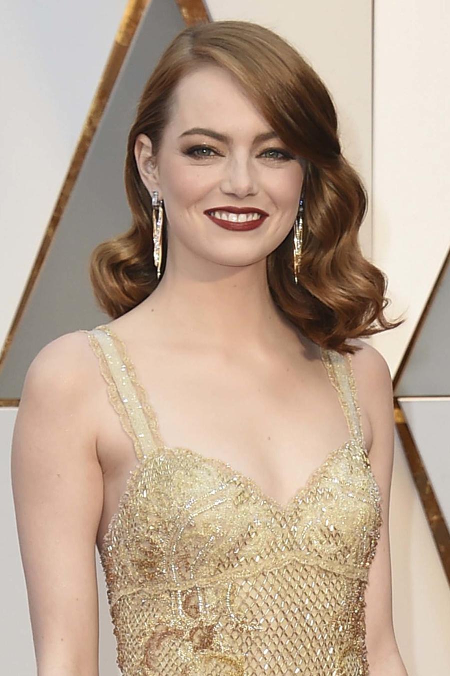 Detalle del maquillaje de Emma Stone en los Oscars 2017