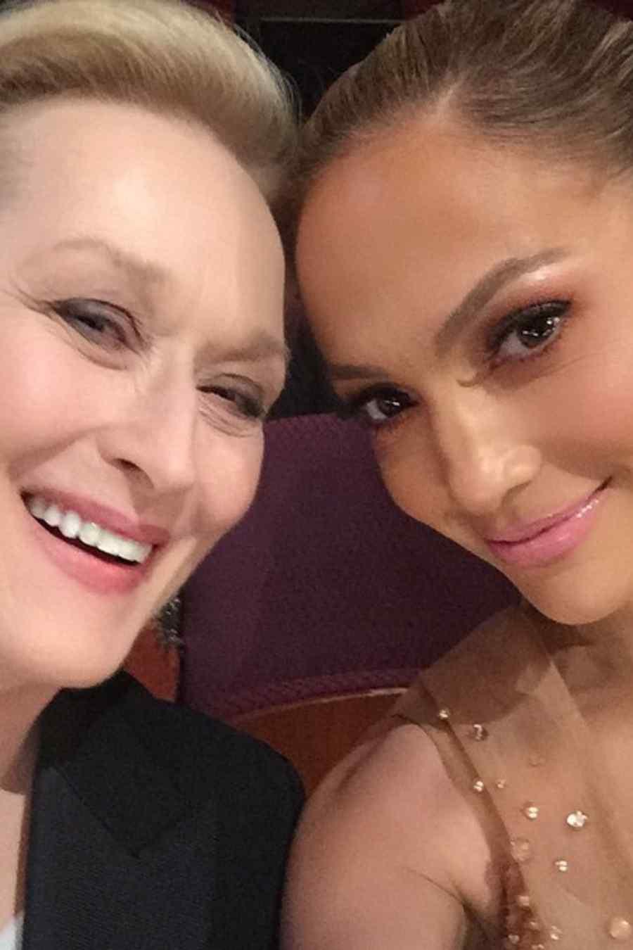 Selfie de Jennifer Lopez de Meryl Streep durante los Premios Oscar 2015