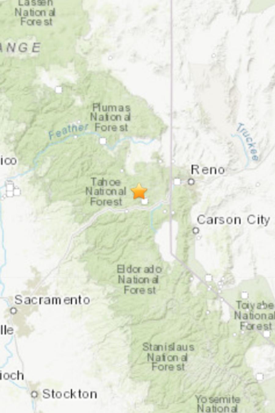 Un temblor de magnitud 4.7 cerca de Truckee.