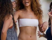 Rihanna in a White Bikini in Barbados.