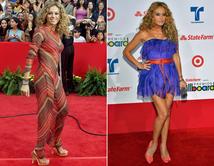 De 2001 a 2012, la chica dorada cambió los vestidos largos a otros que muestran sus bellas piernas.