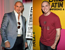Pitbull de 2005 (der.) a 2012 (izq.) De rapero americano a dandy con trajes de diseño.