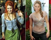 De 1999 (izq.) a 2006 (der.), la diosa colombiana pasó de rockera a cantante pop y de latinoamérica al mundo.