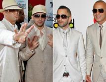De 2006 (izq.) a 2010 (der.), los reggaetoneros mantuvieron su look con trajes claros y gafas oscuras.