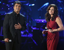 Performing together onstage at the 2012 NCLR ALMA Awards.